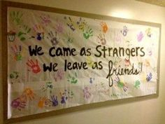 """End of Year Bulletin Board """"Strangers Become Friends"""" Created for a college bulletin board but could be used in any classroom at the end of the school year. strangers_to_friends_board November Bulletin Boards, College Bulletin Boards, Preschool Bulletin Boards, Friends Bulletin Board, Bullentin Boards, Classroom Door, Classroom Displays, Classroom Organization, Pre K Graduation"""