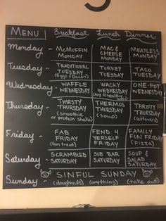 Weekly themed rotating meal plan for breakfast, lunch, and dinner