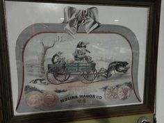 Vintage Moline Wagon Co. Framed Advertising Picture Rustic Decor Wall Hanging