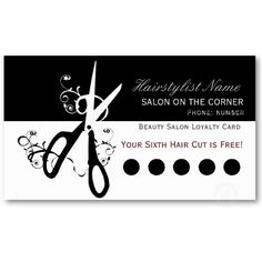 Salon Black and White  Scissors Business Card Templates by 911business #hairstylist