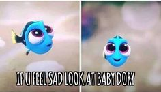 Baby Dory Finding Dory is the cutest thing ever Disney Pixar, Walt Disney World, Disney Memes, Disney Quotes, Disney And Dreamworks, Disney Magic, Disney Characters, Disney Sidekicks, Disney Crossovers