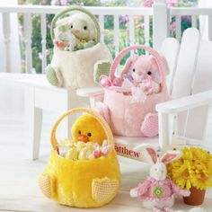 Plush Friends Easter Baskets An eggs-ceptional addition to egg-hunting fun! Delightful treat holders and centerpieces, too, each basket is fashioned of the softest polyester plush, plumped with polyester stuffing, lined in cotton gingham, and features embroidered and dimensional details. Choose from Bunny, Lamb and Chick. #easterbaskets #easter www.teelieturner.com