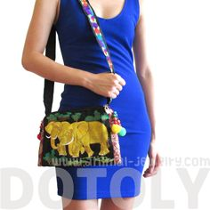 Beautiful Embroidered Elephant Family Animal Themed Cross Body Bag in Gold   72b94723e6819