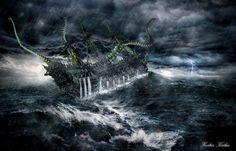 Ghost Ship Battle by ksilas on DeviantArt Ghost Ship, Photo Manipulation, Battle, Waves, Deviantart, Digital, Outdoor, Outdoors, Ocean Waves