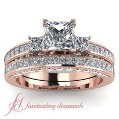 Princess Cut & Round Diamonds 14K Rose Gold Wedding Ring ...