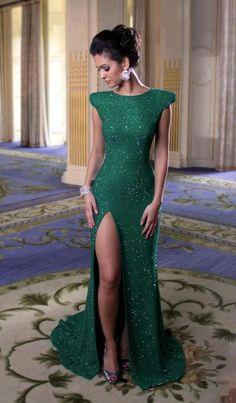 Emerald green structure shudder diamanté evening gown with sexy thigh-high split