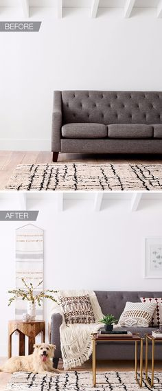 You've got a great rug and couch—now let Nate Berkus do the rest. He recommends keeping your palette neutral—you can mix in anything and it will look amazing. Woven wall art, pillows, this open-knit throw and leather or wood side tables are all plays on the neutral theme, but each has a bedecked or embellished detail that adds interest and brings the space to life.