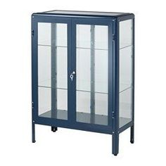 IKEA - FABRIKÖR, Glass-door cabinet, blue, , With a glass-door cabinet, you can show off as well as protect your glassware or your favorite collection.You can easily change the height according to your storage needs as the shelves are adjustable.Adjustable feet for stability on uneven floors.