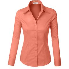 LE3NO Womens Lightweight Button Down Shirt ($20) ❤ liked on Polyvore featuring tops, stretch shirt, button up top, light weight shirts, stretch top and red shirt