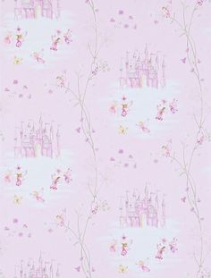 Fairy Castle (214046) - Sanderson Wallpapers - Dainty fairies, fairy castles and delicate flowers create a true fairyland feel. Shown in the soft pink colourway. Please request sample for true colour match.