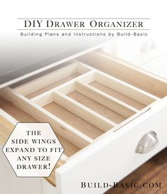 Simple plans for a DIY Drawer Organizer with sides that expand to fit any size drawer! Step-by-step images, cut list and drawings by @BuildBasic www.build-basic.com #DIY #Woodworking #FreePlans #KitchenStorage #Storage #Organizer
