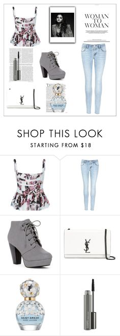 """""""Outfit of the Day #14"""" by tva-lpz ❤ liked on Polyvore featuring Brock Collection, J Brand, ANNA, Yves Saint Laurent, Balmain, Marc Jacobs and MAC Cosmetics"""