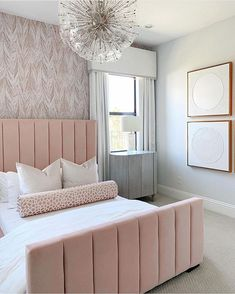 Make your dreams even sweeter in this trendy blush velvet bed because you will have scored yourself a bargain! Checkout my links to Steals and Splurges! Pink Headboard, Pink Bedding, Velvet Headboard, Room Ideas Bedroom, Home Decor Bedroom, Girl Apartment Decor, Feminine Bedroom, Velvet Bed, Bedroom Decor