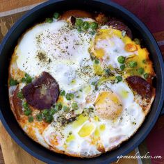 Eggs, Chorizo & Tomatoes In a Skillet
