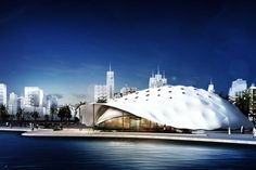 Dit is de Shaded Dome™. Het is een multifunctionele ruimte. Het concept is geschikt voor allerlei doeleinden, zoals rondreizende tentoonstellingen, sportevenementen, musea en entertainment. De vorm en grootte van de Shaded Dome™ zijn volledig aan te passen. De indeling en de algemene vorm kan zelf worden bepaald en oppervlaktes tot wel 20.000 m2 zijn mogelijk. Ik vind dit een heel praktisch en eigentijds ontwerp. (Ontworpen door ZJA, 2016)