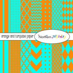 Orange and Turquoise Digital Paper Pack – scrapbook papers in stripe, chevron, polka dot, harlequin, & quatrefoil – instant download – CU OK #digiscrap #scrapbookpaper #scrapbook #orange #turquoise