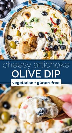 Roasted Garlic Artichoke Olive Dip is completely addicting. It's a grownup version of a spinach and artichoke dip. This pot of creamy melted cheese is dotted with green and black olives, roasted garlic, quartered artichoke hearts, and roasted red peppers. Appetizer Dips, Yummy Appetizers, Appetizer Recipes, Simple Appetizers, Dessert Recipes, Greek Appetizers, Party Dip Recipes, Appetizer Dessert, Artichoke Dip