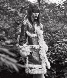 Freja Beha Erichsen by Lachlan Bailey for WSJ Magazine September 2015 - Lanvin python and shearling coat