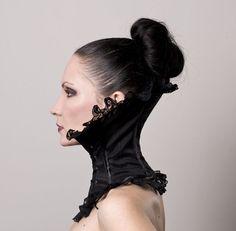 Baroque High Neck Corset in Black by decadentdesignz on Etsy Punk Fashion, Gothic Fashion, Medieval Fashion, Baroque, Victorian Collar, Victorian Corset, Posture Collar, Gothic Culture, Waist Training Corset