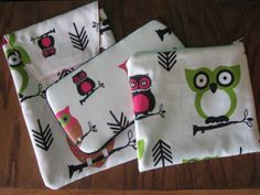 Owl Print Diaper Pouch/ Wipes case/ Wet bag Baby Essentials Set
