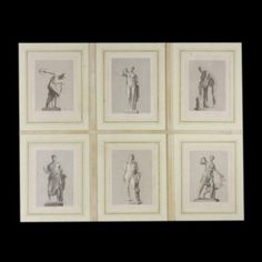 Composition of six individual intaglio prints on old paper. The large size of this composition, framed in parchment, is of hight impact and originality on the wall of a studio or professional environment.