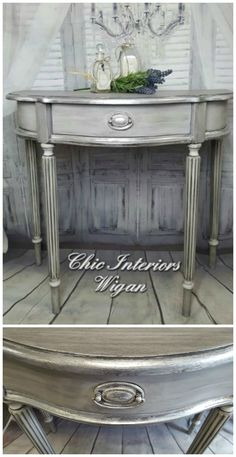 This beautiful table painted in lovely shades of grey was accented in Artisan Enhancements silver foil applied with earth-friendly Leaf and Foil Size by Artisan Enhancements.  Painted by Artisan Enhancements retailer, Chic Interiors Wigan!
