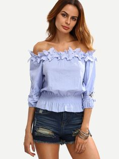 New Fashion Summer Women Lace Off Shoulder Slash Neck T-Shirt Half Sleeve Ruffles Solid Short T-shirt Crop Tops Backless Top, Fashion Outfits, Womens Fashion, Fashion Trends, Mode Style, Minimalist Fashion, Blouse Designs, Dress To Impress, Plus Size Outfits