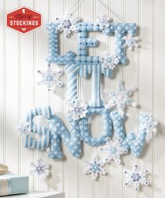 """Brand new Bucilla Felt Wall Hanging - kit title is appropriately called """"Let it Snow"""". This kit is now available at MerryStockings."""