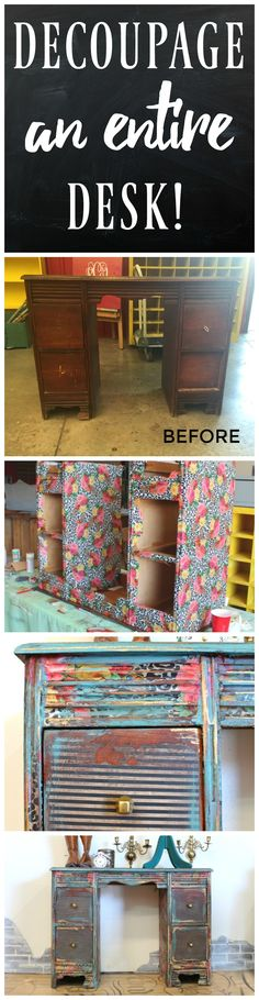 How To Decoupage a Desk - Refunk My Junk - Decoupage Furniture Makeover