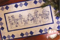 Snow Happens Table Runner Kit: Grace your winter table with this hand embroidered runner! This kit includes the pattern, Perle cotton, top fabrics, binding, and backing for the 17