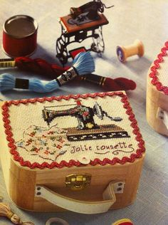 old sewing machine cross stitch pattern on small wooden case