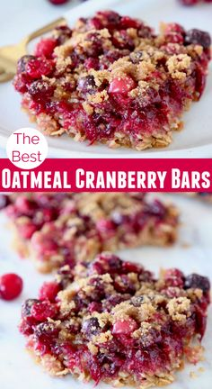 Layers of oats, cranberries & a delicious crumb topping make up these Oatmeal Cranberry Bars. They're perfect for the holiday season & easy to make gluten free! Whip these up for a sweet Christmas. Oatmeal Cranberry Bars Recipe, Blueberry Oatmeal Bars, Fresh Cranberry Recipes, Cranberry Dessert, Cranberry Breakfast Recipes, Cranberry Uses, Cranberry Sauce, Sin Gluten, Gluten Free