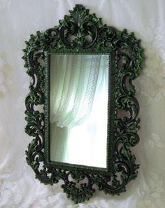 Gothic Wall Mirror Black and Green Mirror by WildMountainStudio