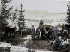 WW1. Austro-Hungarian 105mm M14 lFH Skoda canon, 1917. Photo colourised…
