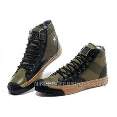 CONVERSE Army Green Mark Wahlberg Shooter All Star High Tops Canvas Black  Leather Edge Mens Shoes 63d1cdf0e