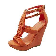 Strappy Faux Suede Fringe Tassle Boho Chic Platform High Heel Wedge Sandal Shoes
