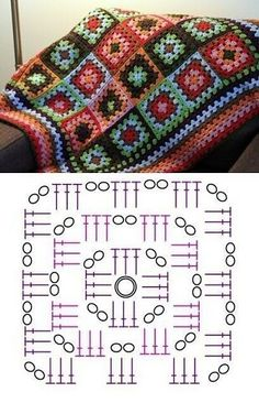 Granny Square Häkelanleitung, Granny Square Crochet Pattern, Crochet Squares, Crochet Motif, Crochet Stitches, Free Mandala Crochet Patterns, Crochet Bedspread Pattern, Crochet Blanket Patterns, Crochet Designs