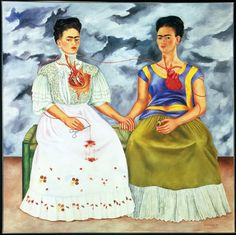 The Two Fridas (1939), Frida Kahlo. Frida Kahlo created this work following her divorce from Mexican painter Diego Rivera. To the right is the part of Frida loved by Diego, dressed in traditional tehuana costume. To the left, the more European Frida wearing a lacy Victorian wedding dress; the part abandoned by Diego. From an amulet depicting her ex-husband a vein flows blood through both hearts, but she cuts the vein. The abandoned Frida is in danger of death.