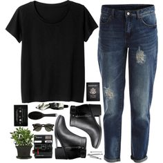 Untitled #13 by briartate on Polyvore featuring Monki, VILA, H&M, Carven, Aesop, GHD, Polaroid, BOBBY, Passport and black