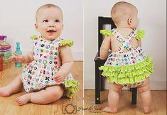 Baby Romper pattern - Ruff or Ruffled Romper PDF pattern - Sizes Newborn - 36 months