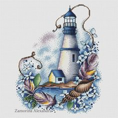 "Cross stitch design ""Blue lighthouse"" Designer – Zamorina Alexandra Artist – Olga Bobko The size of the embroidery: crosses (for canvas aida 14 is Cross Stitch Sea, Cross Stitch Fabric, Cute Cross Stitch, Cross Stitch Kits, Counted Cross Stitch Patterns, Cross Stitch Charts, Cross Stitching, Cross Stitch Embroidery, Crewel Embroidery Kits"