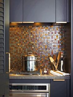 kitchen - backsplash - countertop - square glass tiles