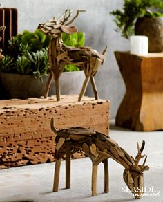 "Driftwood reindeer. Carefully selected bits of salavaged driftwood are artfully arranged to form our standing or grazing reindeer. Standing measures 15"" H; Grazing 17"" L"