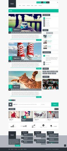 Felius – Multipurpose PSD Template by Zizaza - design ocean , via Behance #webdesign #inspiration #white #turquise