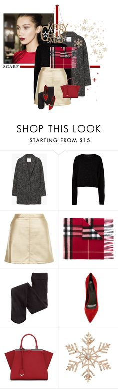 """""""Merry Christmas and Happy Holidays!"""" by chebear ❤ liked on Polyvore featuring MANGO, TIBI, New Look, Burberry, Alexander Wang, Fendi, John Lewis, M&Co and scarf"""