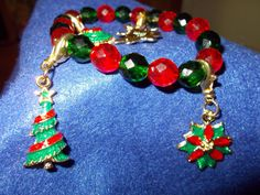 Christmas Charm Bracelets Red and Green Crystal by redbudcrafts, $15.00