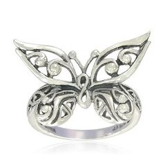 Sterling Silver Celtic Butterfly Ring, Size 7, (celtic, celtic jewelry, jewelry, rings, silver, sterling silver ring, gem avenue, sterling silver, ring, butterfly)
