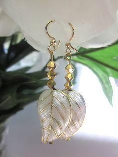 Earrings Cloisonne Leaf Gold Swarovski by FaithHopeInspire on Etsy, $35.00