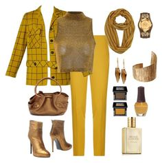 """Simple Striking Sets with Sophistication - Mustard and old gold"" by kmaryk ❤ liked on Polyvore featuring moda, Pinko, Glamorous, Ines Della Rovere London, Cole Haan, Robert Lee Morris, Versace, First People First, Make ve SpaRitual"