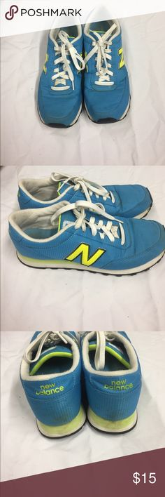 501 New Balance Fitness Sneakers. Turquoise with Neon New Balance Logo. Sign of wear on shoes and bottoms are in good condition with much grip on them. New Balance Shoes Sneakers